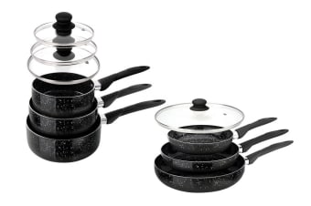 StoneChef 10 Piece Marble Ceramic Cookware Set (Black)