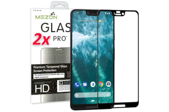 [2 Pack] Google Pixel 3 XL Tempered Glass Full Coverage Crystal Clear Premium 3D Edge 9H HD Screen Protector by MEZON (Pixel 3 XL, 5D)