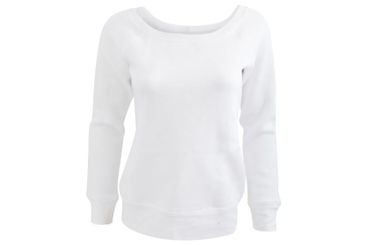 Bella Ladies/Womens Triblend Slouchy Wideneck Sweatshirt (Solid White Triblend) (L)