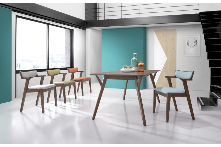 7pcs Dining Set Solid Rubberwood 1.5m Table 6 Chairs with Arm rest - Walnut