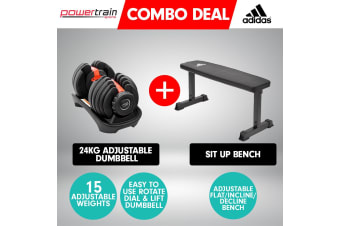 Powertrain 24kg Adjustable Dumbbell w/ Adidas 10437 Exercise Bench