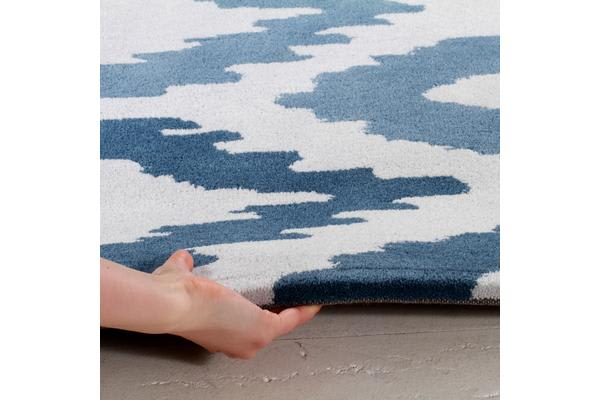 Ikat Diamonds Blue Grey Rug 150x150cm