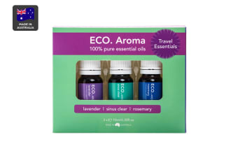 ECO. Aroma Travel Essential Oil Trio (Lavender, Rosemary & Sinus Clear)
