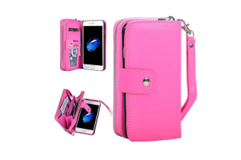 For iPhone 8 7 Wallet Case Multiuse Separable Durable Leather Cover Magenta