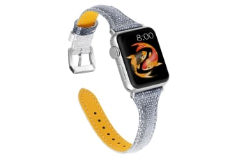 Woman Leather Gradient Color Bands, Replacement Strap Wristband with Apple Watch Series 5/4/3/2/1 (SILVERGRADUALLYBLACK, 38/40mm)