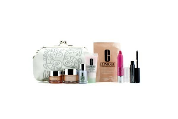 Clinique Travel Set: Foaming Cleanser + Moisture Surge + Laser Focus + All About Eyes + Eye Mask + Mascara + (7pcs+1bag)