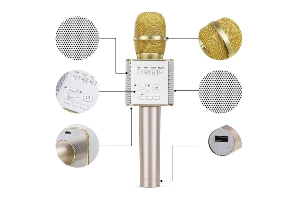 Portable Bluetooth Karaoke Microphone with Built-in Speaker (Gold)