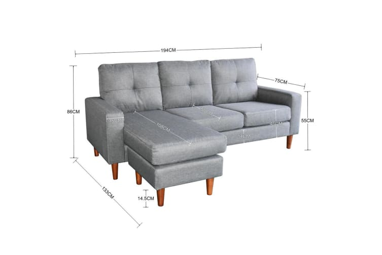 Linen Corner Sofa Couch Lounge Chaise With Wooden Legs Grey