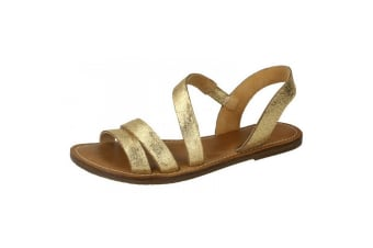 Leather Collection Womens/Ladies Strap Slingback Mule Sandals (Gold)