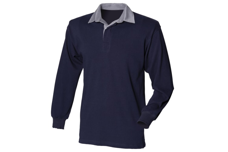 Front Row Mens Long Sleeve Sports Rugby Shirt (Navy/Slate collar) (2XL)