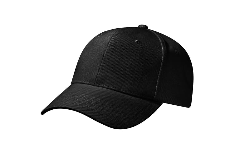 Beechfield Unisex Pro-Style Heavy Brushed Cotton Baseball Cap / Headwear (Black) (One Size)