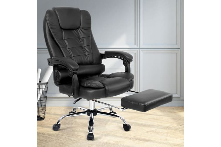 Artiss Executive Office Chair Computer Desk Chairs Recliner Seat Footrest Black