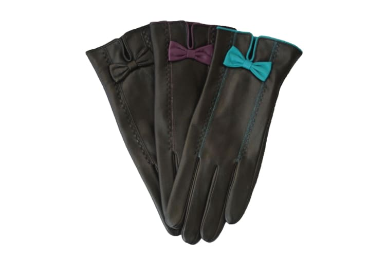 Eastern Counties Leather Womens/Ladies Bow And Stitch Detail Leather Gloves (Black/Aqua) (M)