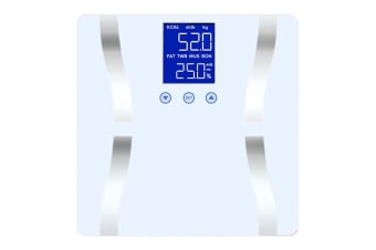 SOGA Digital Body Fat Scale Bathroom Scales Weight Gym Glass Water LCD Electronic White