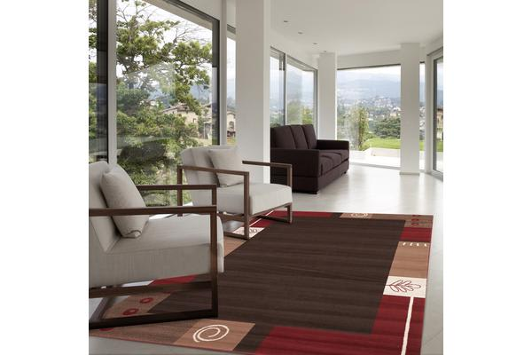 Border Pattern Rug Brown Beige Red 230x160cm
