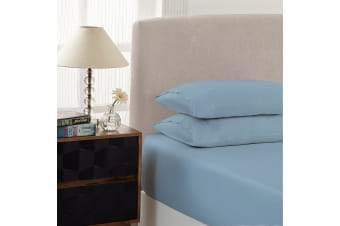 Royal Comfort Double 1500TC Markle Collection Cotton Blend Fitted Sheet Set - Indigo