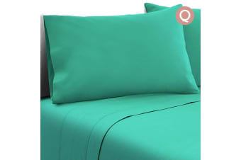 4 Piece Microfibre Sheet Set (Queen/Aqua)