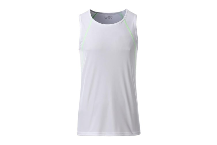 James and Nicholson Mens Sports Tank Top (White/Bright Green) (XXL)