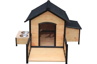 Dog House w/ Deck Feeder & Storage