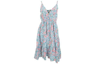 Womens/Ladies Pastel Rose Print Strappy Summer Dress (Blue)