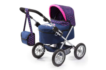 Bayer Trendy 68cm Doll Pram Stroller Toy Dark Blue w/ Pink Hearts/Unicorn 3y+