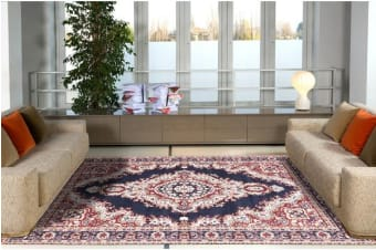 Stunning Traditional Medallion Rug Navy Red 280x190cm