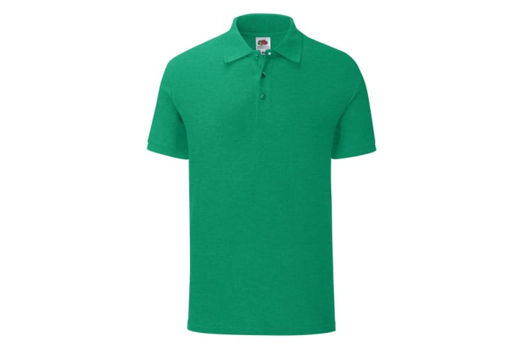 Fruit Of The Loom Mens Iconic Polo Shirt (Heather Green) (XXL)