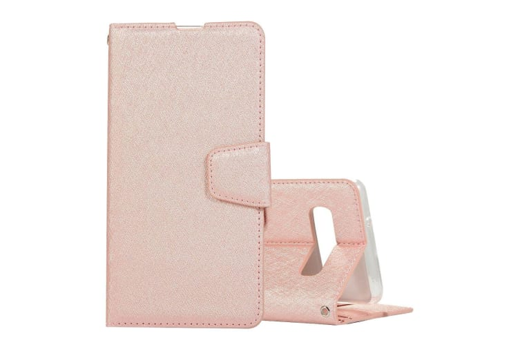 For Samsung Galaxy S10 Case Rose Gold Silk Texture Leather Wallet Folio Cover