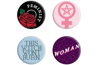 Grindstore This Witch Won't Burn Feminist Badge Pack (Multicoloured)