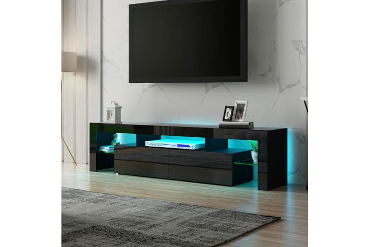 Black Modern TV Cabinet Stand Furniture Entertainment Unit Table RGB light
