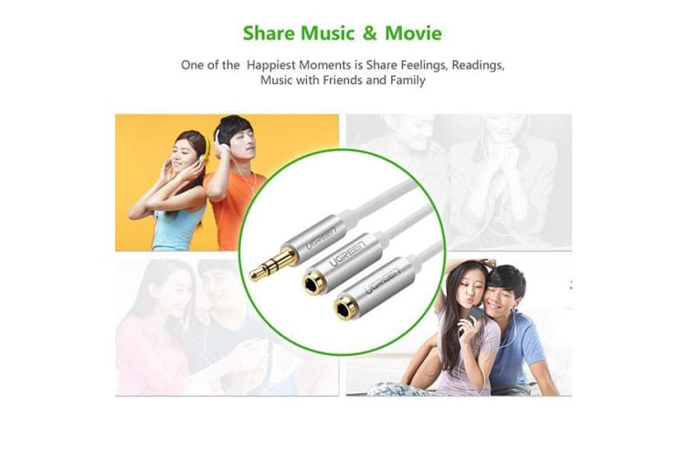 UGREEN 3.5MM Male to 2 x 3.5MM Female AUX Stereo Audio Splitter Cable - White (10780)