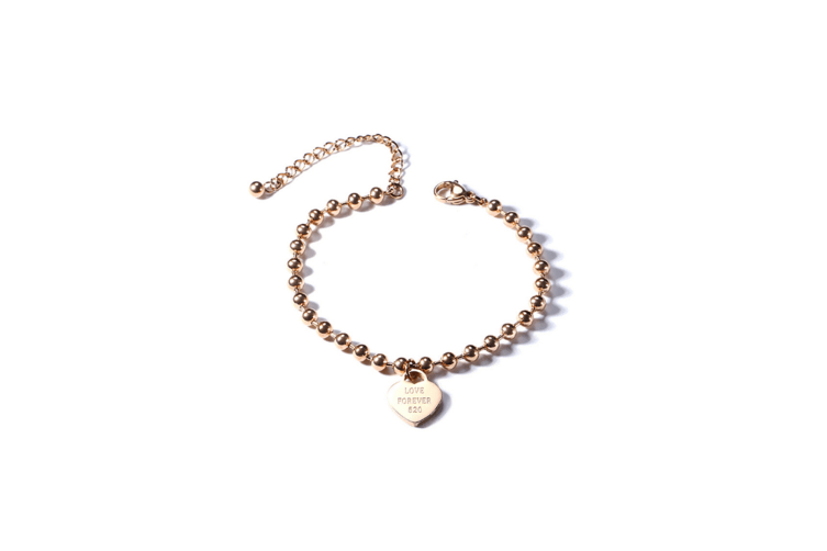 Womens Stainless Steel Love Cute Heart Charm Link Bracelet - Rose Gold Gold