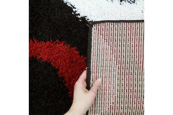 Modern Shag Rug Hoops Black Red White 330x240cm