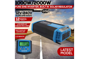 Power Inverter 1000W 2000W Solar Controller Charger 30A Pure Sine Wave 12V 240V