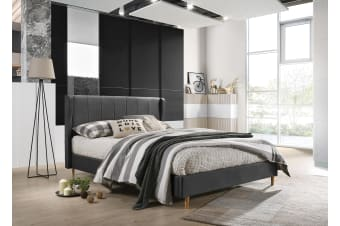 Queen Designer Wingback Upholstered Fabric Bed Frame - Charcoal