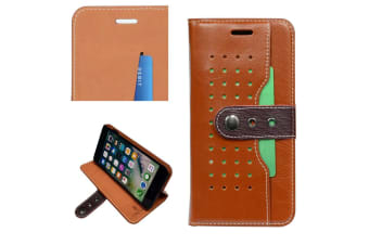For iPhone 8 PLUS 7 PLUS Wallet Case Fierre Shann Buckle Leather Cover Brown