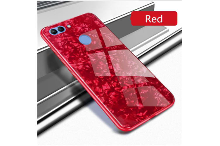 Shiny Seashell Pattern Tempered Glass Hard Back Cover Shell For Huawei Red P20