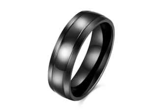 Men Classic 6mm  Black Band titanium steel  Polished ring 7