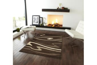 Modern Swirls Runner Rug Dark Brown