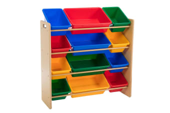 Kids 86cm Wooden Shelf w/12 Plastic Bin for Toys/Books Organiser Storage 3y+