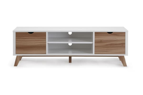 Ovela 2 Drawer TV Stand - Finse Collection (White & Dark Birch)