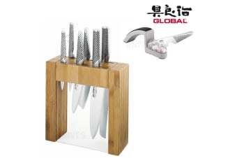 New IKASU GLOBAL 7pc Knife Block Set + BONUS MINO SHARPENER Made in JAPAN