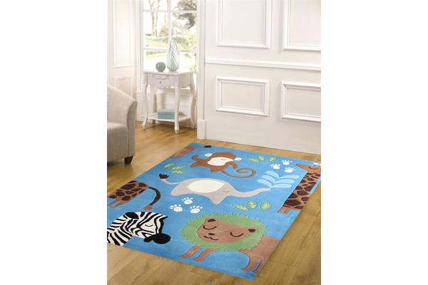 Awesome Jungle Animals Rug Blue 165x115cm