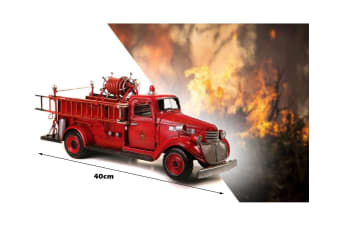 Handmade Retro Chevy Fire Truck Firefighter Engine Collectable Replica Model