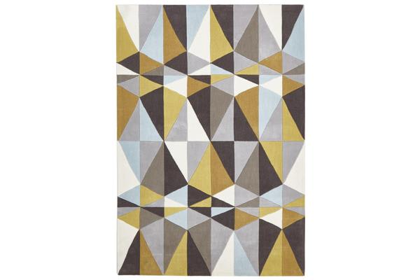 Yellow and Sky Blue Crystal Design Rug 280x190cm