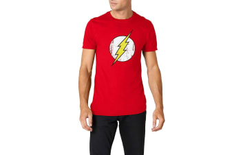 Flash Unisex Adults Distressed Logo Design T-Shirt (Red) (S)