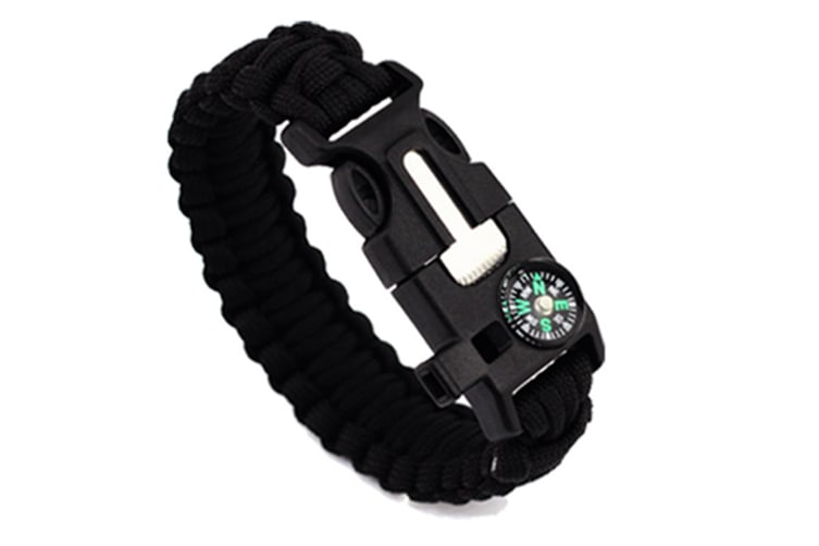 Outdoor Survival Paracord Bracelet With Compass Fire Starter And Emergency Whistle