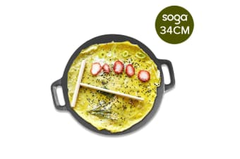 SOGA Cast Iron Induction Crepes Pan Baking Cookie Pancake Pizza Bakeware