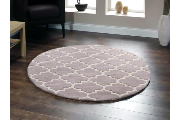 Lattice Grey Rug Round 200x200cm
