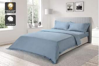Ovela 1000TC Cotton Rich Luxury Quilt Cover Set (Slate Blue)